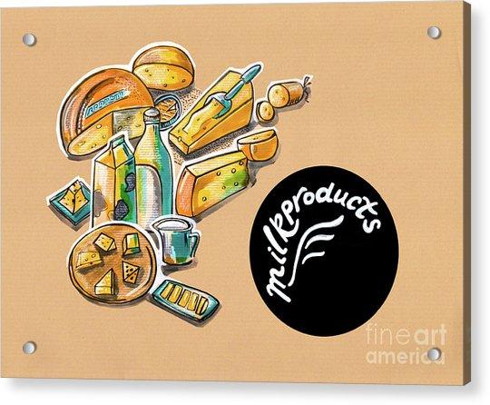 Kitchen Illustration Of Menu Of Milk Products  Acrylic Print