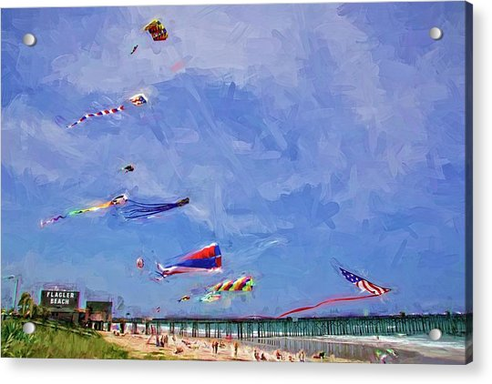Acrylic Print featuring the photograph Kites At The Flagler Beach Pier by Alice Gipson