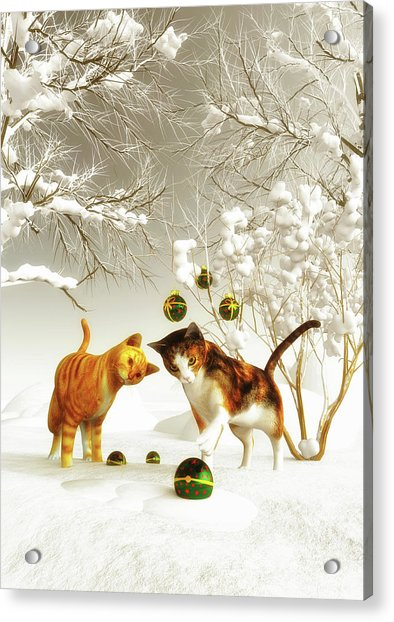 Acrylic Print featuring the painting Kittens At Christmas by Jan Keteleer