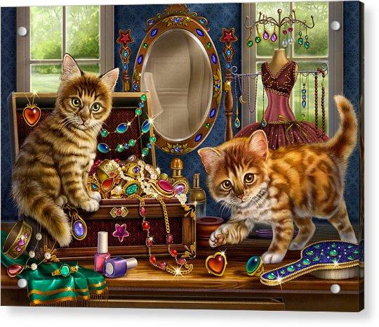 Kittens With Jewelry Box Acrylic Print