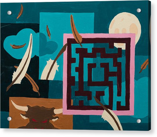 Acrylic Print featuring the painting Labyrinth Night by Break The Silhouette