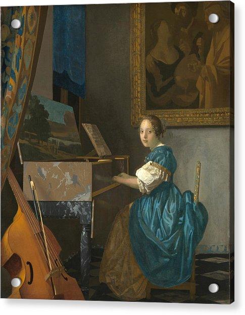 Lady Seated At A Virginal Acrylic Print