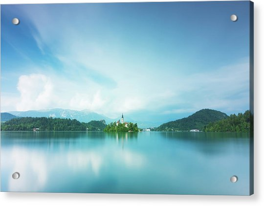 Acrylic Print featuring the photograph Lake Bled by Mirko Chessari