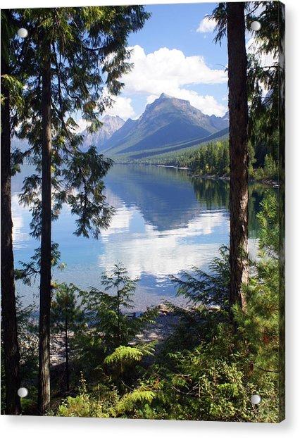 Lake Mcdlonald Through The Trees Glacier National Park Acrylic Print