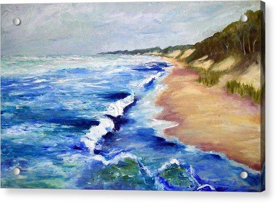 Lake Michigan Beach With Whitecaps Acrylic Print