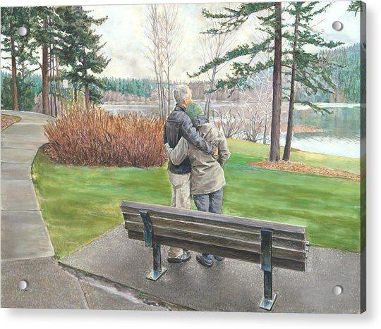 Lake Padden-memorial Bench Of Reg Bratz Acrylic Print
