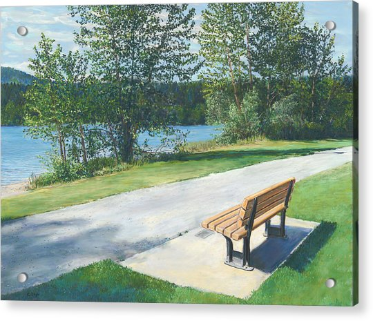 Lake Padden Series - Memorial Bench Of Andrew Phillip Jones Acrylic Print