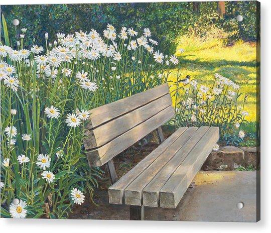 Lake Padden Series - Memorial Bench Of Judy Winter Acrylic Print