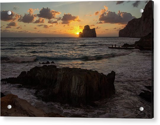 Large Rock Against The Light Acrylic Print