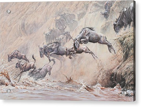 Acrylic Print featuring the painting Leap Of Faith by Alan M Hunt