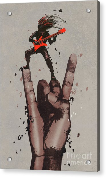 Acrylic Print featuring the painting Let's Rock by Tithi Luadthong