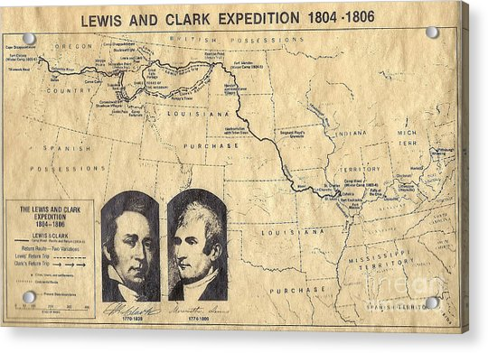 Lewis And Clark Expedition Map Acrylic Print