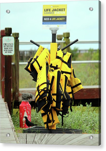 Acrylic Print featuring the photograph Life Jacket Station by Cynthia Guinn