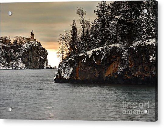 Lighthouse And Island At Dawn Acrylic Print