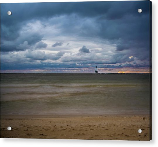 Lighthouse Under Brewing Clouds Acrylic Print