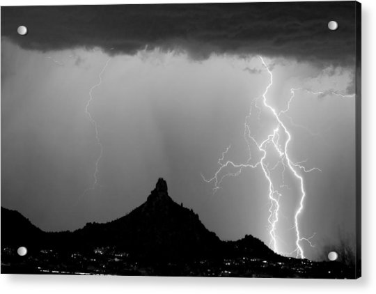 Lightning Thunderstorm At Pinnacle Peak Bw Acrylic Print