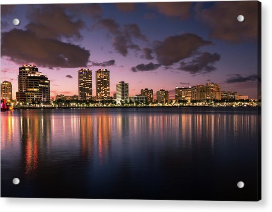 Lights At Night In West Palm Beach Acrylic Print