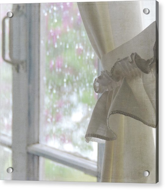 Acrylic Print featuring the photograph Lilacs In The Rain by Sally Banfill