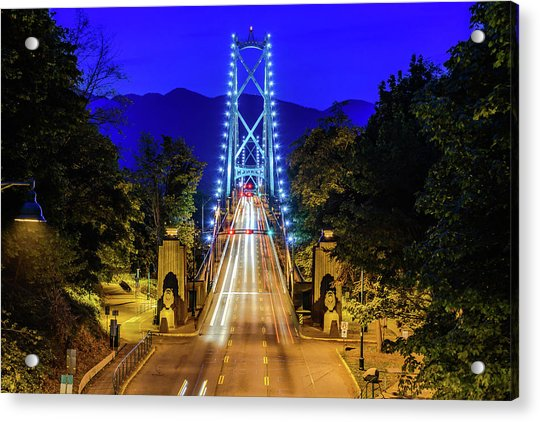 Lions Gate Bridge At Night Acrylic Print