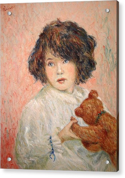 Little Girl With Bear Acrylic Print