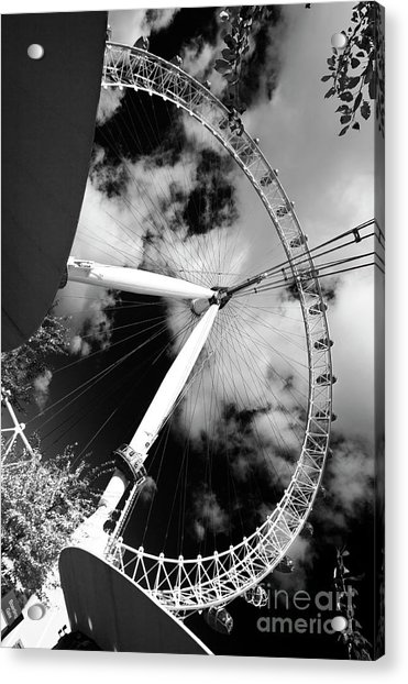London Ferris Wheel Bw Acrylic Print