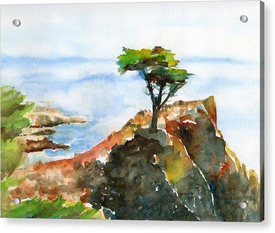 Lone Cypress Pebble Beach Fog Acrylic Print