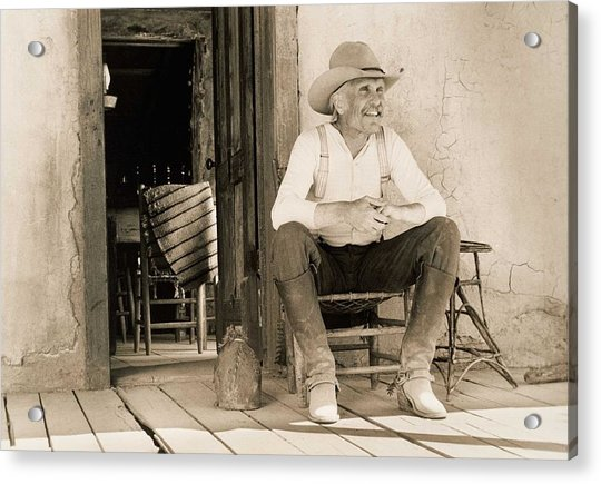 Lonesome Dove Gus On Porch  Acrylic Print