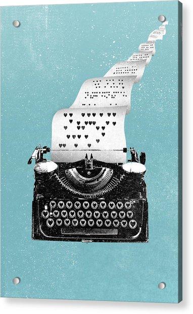 Love Typewriter Poster Acrylic Print