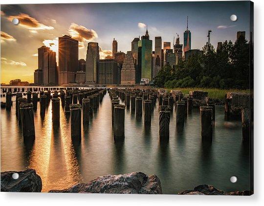 Lower Manhattan Sunset Twinkle Acrylic Print