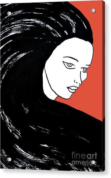 Majestic Lady J0715j Tangerine Tango Orange Pastel Painting 17-1463  E1523d F0532a Acrylic Print