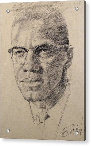 Acrylic Print featuring the drawing Malcolm X by Cliff Spohn