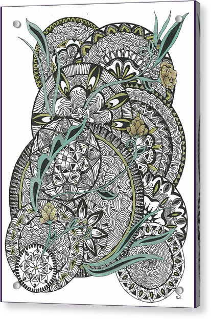 Mandalas With Gold Flowers Acrylic Print