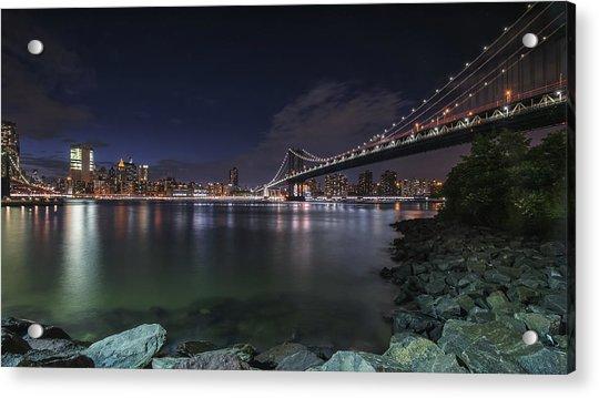 Manhattan Bridge Twinkles At Night Acrylic Print