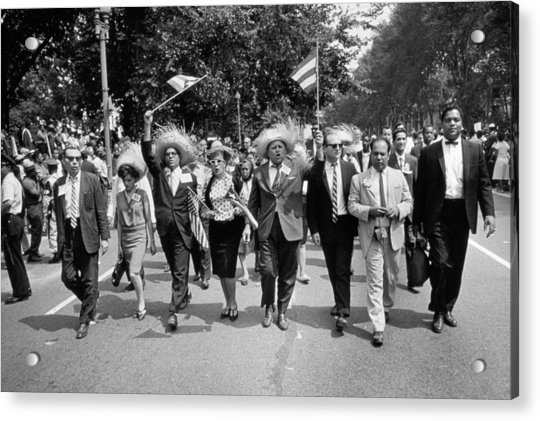 Marchers Wearing Hats Carry Puerto Rican Flags Down Constitution Avenue Acrylic Print