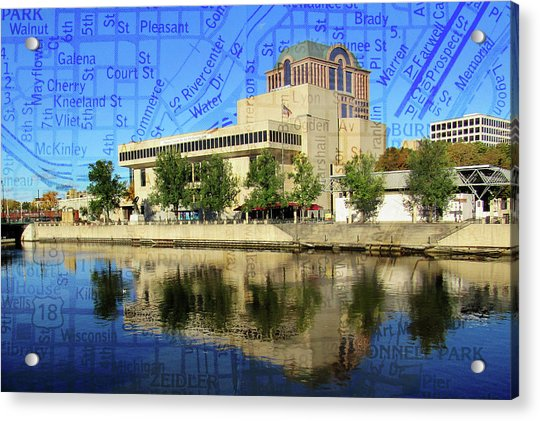Marcus Center River Reflection W Map Acrylic Print