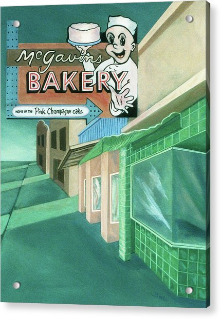 Acrylic Print featuring the painting Mcgavins's Bakery by Sally Banfill