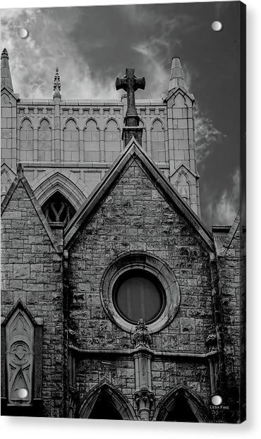 Memphis Cross In The Clouds Bw Acrylic Print