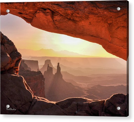 Mesa Arch At Sunrise, Washer Woman Formation , Canyonlands National Park, Utah Acrylic Print