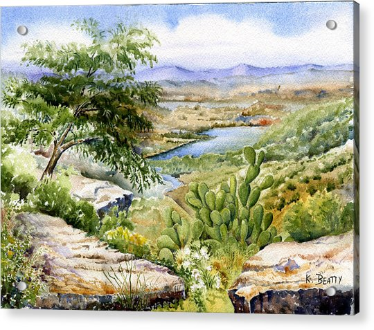 Mexican Landscape Watercolor Acrylic Print