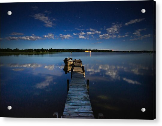 Midnight At Shady Shore On Moose Lake Minnesota Acrylic Print
