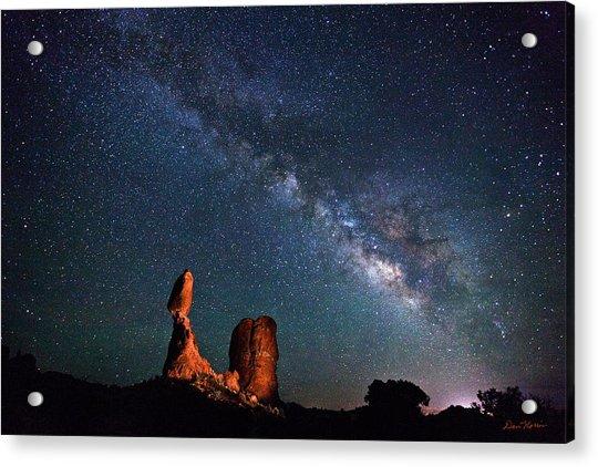 Milky Way Over Balanced Rock Acrylic Print