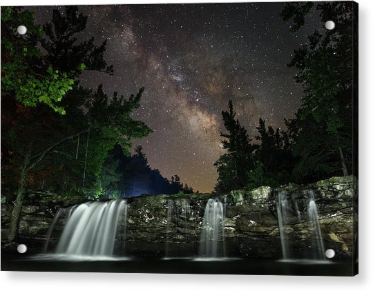 Milky Way Over Falling Waters Acrylic Print
