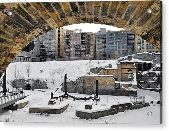 Mill Ruins Park Winter Acrylic Print