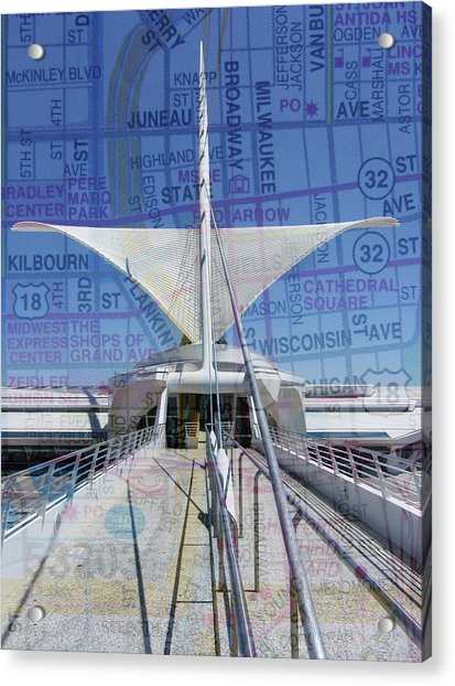 Milwaukee Art Museum Wings W Map Acrylic Print