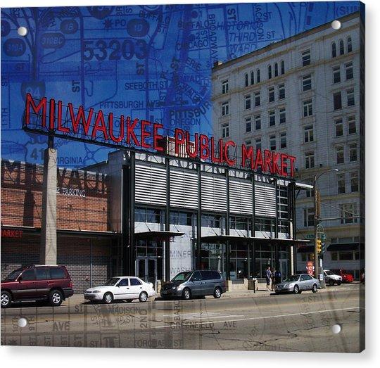 Milwaukee Public Market W Map Acrylic Print