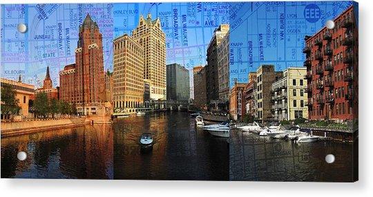 Milwaukee Water Trio W Map Acrylic Print