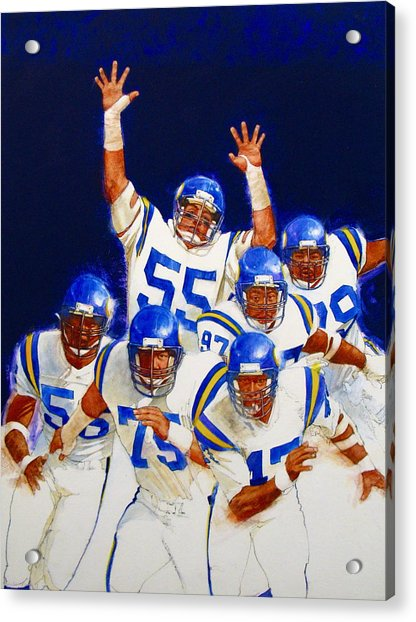 Acrylic Print featuring the painting Minnesota Vikings Front Four  by Cliff Spohn