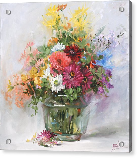 Pixels & Mixed Flowers In A Glass Vase 2555
