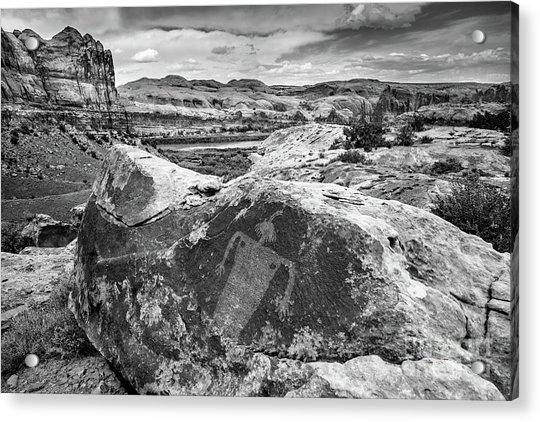 Moab Maiden Petroglyph - Black And White - Utah Acrylic Print