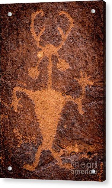 Moab Man Petroglyph Portrait - Utah Acrylic Print